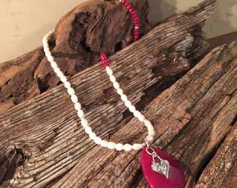 Ruby Jade and Freshwater Pearl Necklace