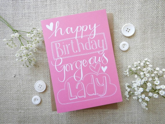Happy Birthday Lady Images ~ Happy birthday gorgeous lady hand drawn greeting card