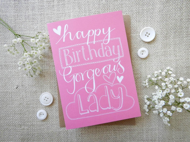 Happy Birthday Gorgeous Lady Hand Drawn Greeting Card
