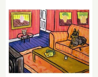 25% off Doberman Pinscher Watching television Dog Art Print