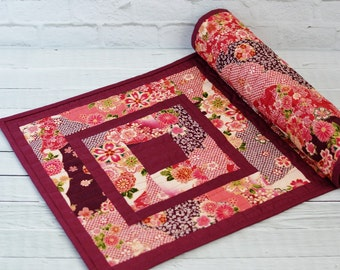 """Quilted Table Runner Japanese Kimono Floral 13"""" x 38"""" Cherry Blossoms"""
