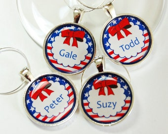 4th of July, Custom Wine Charm, Wine Glass Charms, Personalized, Wine Charms, silver plated, barware, entertaining, table setting (2623)