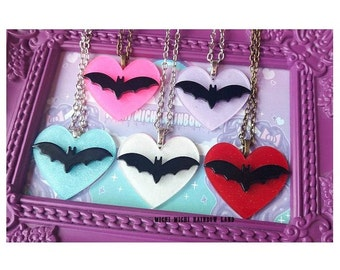 Bat Heart Acrylic Necklace or Brooch