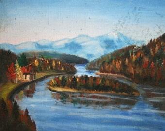 European oil painting vintage impressionist lake landscape