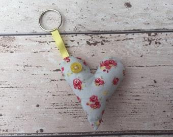 Blue heart keyring, floral charm, shabby chic, Handmade fabric keyring, love heart charm, girls charm, pink flower heart, heart keyring