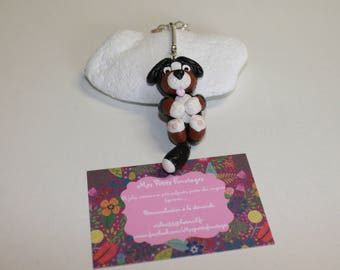 Bernese mountain dog with polymer clay keychain