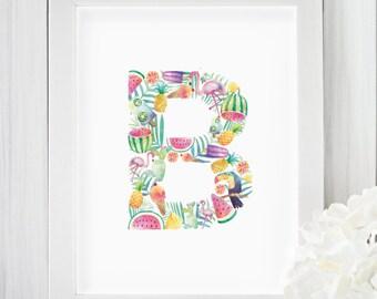 Tropical, Watercolor, Letter B, Printable, Monogram, Girls room decor, Nursery wall art, Kids art, Pineapple, Flamingo, Watermelon, Pink