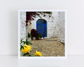 "READY TO SHIP - Greece photography - Greek village - Blue door art - Travel photography - Europe decor - Corfu Greek islands - ""Afionas"""