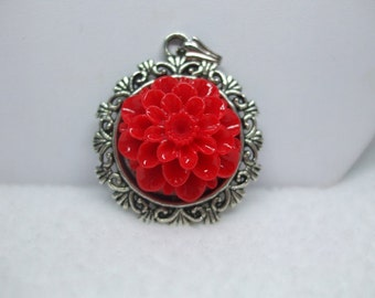 Upcycled Cabochon Flower Necklace Lovely Available in several colors