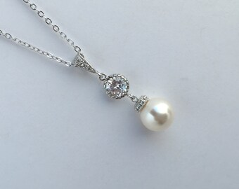 White Pearl and Crystal Bridal Necklace Wedding Cubic Zirconia and Pearl Pendant Rhodium Swarovski Pearl Jewelry