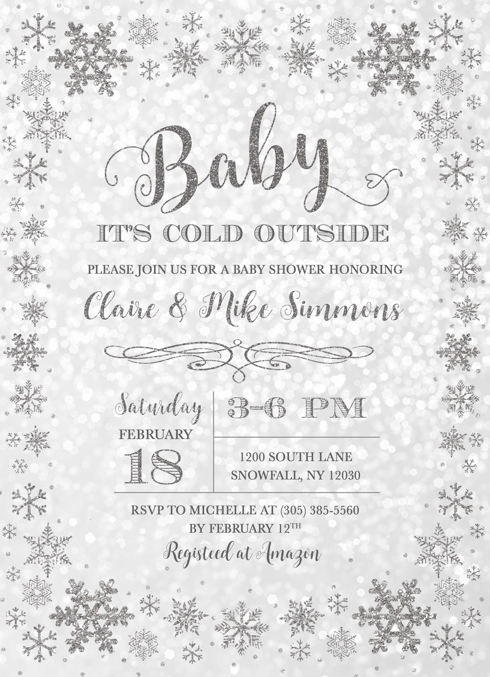Winter Wonderland Baby Shower Invitation Baby Its Cold Outside