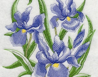 Sketched Irises Embroidered Flour Sack Towel, Sketched Irises Towel, Blue Irises Towel, Purple Irises Towel, Spring Towel