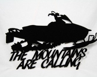 Metal Snowmobile Sign -- The Mountains Are Calling, Snowmobile wall art, Sled Wall Art, Sledding sign, Snowmobile wall sign, winter sport