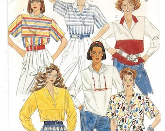 1980s McCall's #2339 Misses' Pullover Collared Tops, UNCUT FF Sewing Pattern, Size 12 Bust 34