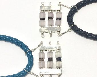 Graphic Pendant Necklace on leather cord, Bold semi precious stone pendant