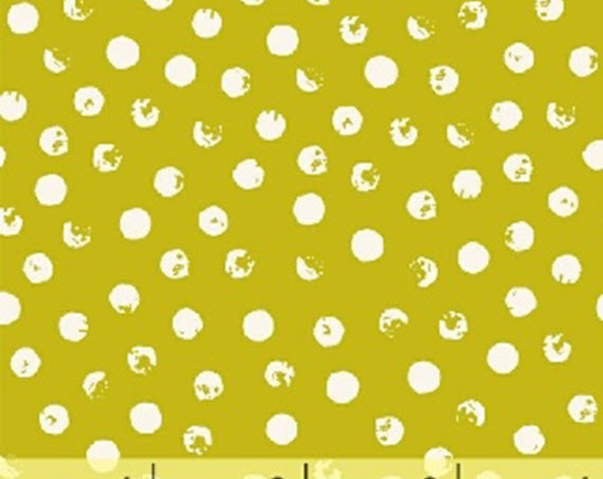 CLEVER DOT - Dots in Citron Lime Green - Polka Dots - Blender Cotton Quilt Fabric - Bread and Butter - Windham Fabrics - 42675-5 (W4687)