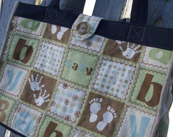 Diaper Bag with Outside & Inside Pockets, Patchwork Diaper Bag, Neutral Diaper Bag, Shower Gift, Large Baby Bag, Baby Tote