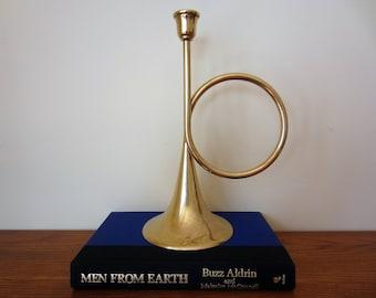 Brass horn candle holder.  Brass horn candlestick.  Kentucky Derby decor.