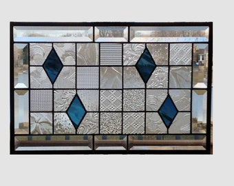 Beveled clear stained glass panel window hanging geometric steel blue quilt sampler stained glass window panel 17 1/2 x 11 1/2 0346