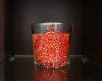 Scented glass candle, henna candle, mehndi candle, candle gift, home decor
