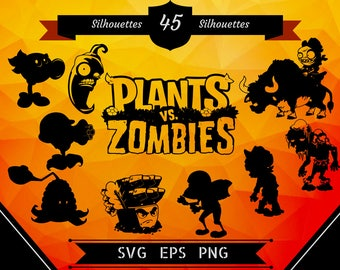 45 Plants vs Zombies Silhouettes/pvz svg/pvz clipart/pvz silhouettes/pvz shirt/pvz birthday/plants svg/plants clipart/zombies svg/zombies
