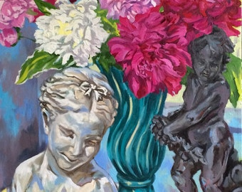 Original Oil Painting Still Life of Peonies with Bust of Girl and Cherub Statue