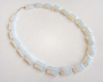 Moon Glow Necklace, Opalite Bead Necklace, White Opal Glass Necklace, Moonstone Necklace, Wedding Jewelry, Bridal Jewelry, Art Deco Jewelry