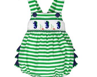 Dana Kids Seahorse Smocked Romper Baby Toddler Girls 6 Months to 3T