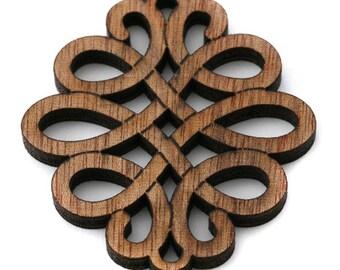 1, 5 or 10 Celtic pendant in natural wood 45 x 50 mm (dark brown)