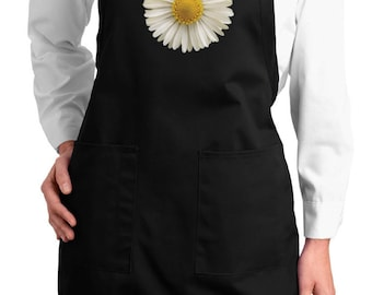Ladies Flower Apron White Daisy Full Length Apron with Pockets DAISY-A500