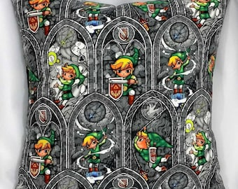 Legend of Zelda Nintendo fabric made into a throw pillow cover for you. Video game decor made with Link gray stained glass cotton.