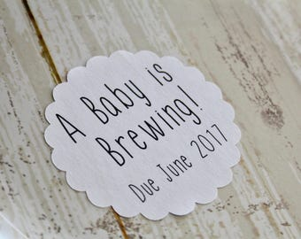 A BABY IS BREWING, Baby Shower, Baby Shower Favor, New Baby, Stickers