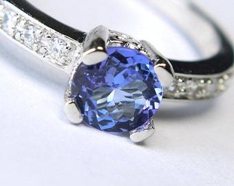 Brilliant Tanzanite in an Accented Sterling Silver Ring