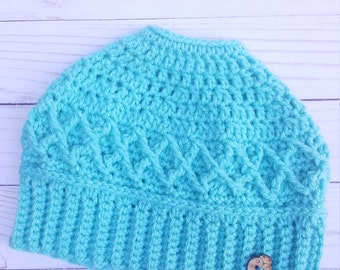 Turquoise Messy Bun Beanie Hat, Ponytail Hat, Custom Color Available