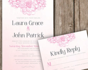 Floral Pink Gray Wedding Invitation - Soft Vintage Wedding Invitation - Watercolor Wedding Invitations Pink