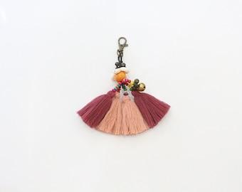 Cotton Threads Tassel Keychain With Bells & Beads