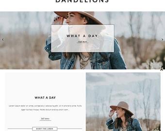 "Blogger Template ""Dandelions"" // Responsive Photography Instant Digital Download Premade Blog Theme Design"