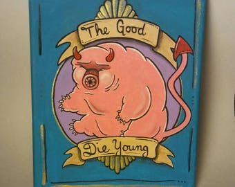 The good die young- Squishy little tardigrade / water bear painting