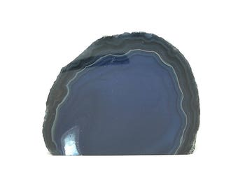 Agate,  Dyed polished blue agate, crafting or display geo stones