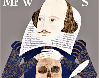 William Shakespeare, Greeting Card, Bookish, Collage, Naive Art, Hamlet, Shakespeare, Bard of Avon, Literary Cards, English Literature, Art