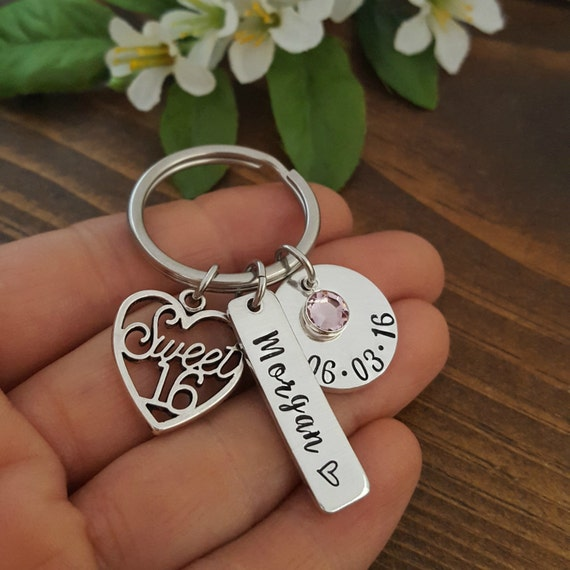 Sweet 16 Keychain 16th Birthday Gift Personalized Sweet 16