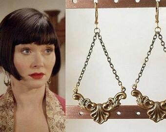 Phryne Fisher Antique Gold Filigree Art Deco Earrings