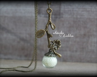 Night-glowing bronze glass ball necklace with Flower branch