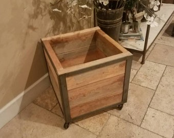 Ella Jane Planter (medium) with Reclaimed Wood and Rusty Casters