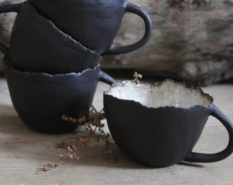 Black Ceramic Mug pottered Rustic