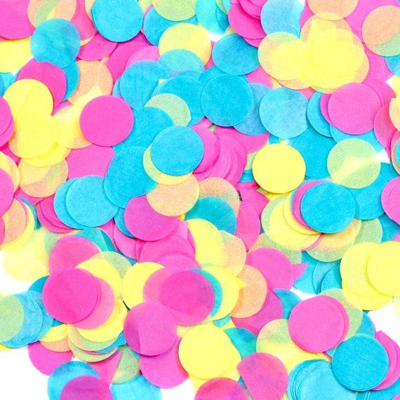 Confetti Cocktail Confetti, Pink Blue Yellow Confetti, Shred, Table Decor, Confetti Balloon, First Birthday Baby Shower Summer Decor Rainbow