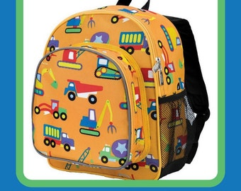Monogram Backpack and Lunch Bag - Wildkin - Construction - Preschool Day Pack Back to School