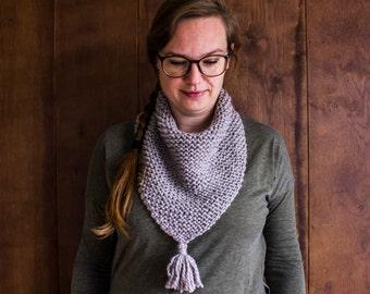 Knit Bandana Scarf, Tassel Scarfs for Woman, Triangle Scarf with Fringe, Bandana Scarf for Woman, Triangle Scarf, Natural Dyed Wool Scarf
