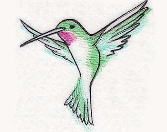Hummingbird in Watercolor Tea Towel | Bird Kitchen Towel | Embroidered Kitchen Towel | Embroidered Towel | Personalized Kitchen Towel | Bath