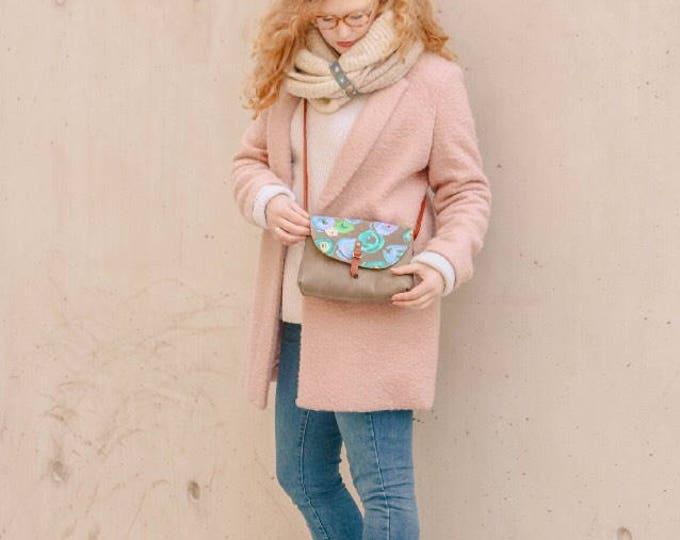 "OOAK Handpainted leather ""Karina"" crossbody bag - BLUE floral"